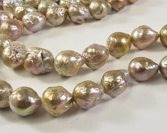 11x11 - 15x17 mm Natural White OR Pink Baroque Freshwater Pearl Beads, Flameball Baroque Pearls, Rare Genuine Edison Pearls (280-BQMIX1117)