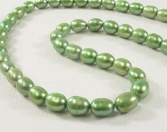 4.5-5 x 6 mm Rice/Oval Freshwater Blue OR Green Genuine Freshwater Pearl Beads, Oval Cultured Freshwater Pearls, Rice Pearls (284-RMIX04506)