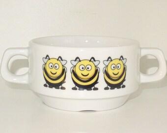 Soup Bowl 11, bee soup bowl small baby child kids , Bottom, hidden, secret, animal, cartoon, animal , Bi , cartoon , honey, KIDS, porcelain