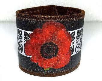 Red Poppy Vegan Leather Cuff Bracelet