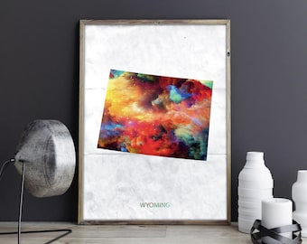 Wyoming Art Wyoming Wall Art Wyoming Decor Wyoming Photo Wyoming Print Wyoming Poster Wyoming State Map United States Map Watercolor Map