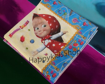 20 pcs Napkins , Children's Holiday Party Masha and the Bear Table Party Treats Supplies Favors Birthday Cartoon Characters, Party Wear