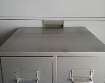Vintage metal two drawer file cabinet.