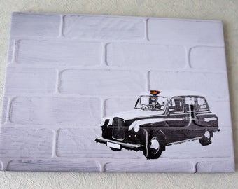 Iconic London Taxi unique canvas print 16x22