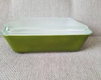 Pyrex Fridgie dish #503 1.5 Quart Green Verde