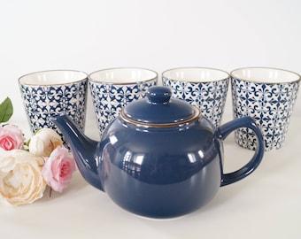 Stylish mosaic blue and white decorative mugs set of 4 and teapot