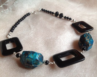 Turquoise - Onyx necklaces