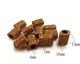 Imitation bone beads/ flat tubes_10x13mm_4mm hole_color brown_Pack 20 beads