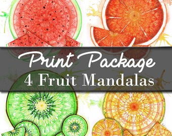 Fruit Mandala Print Pack - Signed Fine Art Giclee Prints - Art by MoonArtDreams
