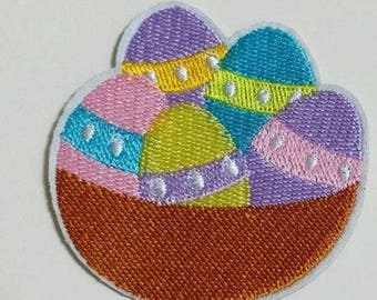 Easter Egg Basket Embroidered Iron On Patch Applique Sewing DIY Easter Decoration Easter Egg Hunt