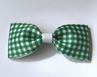 Green Gingham Grosgrain Ribbon Medium Pinch Bow