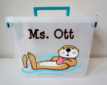 Otter Personalized Storage Tote, otter gift, teacher gift, hand painted custom, personalized birthday gift, storage bin with name, storage