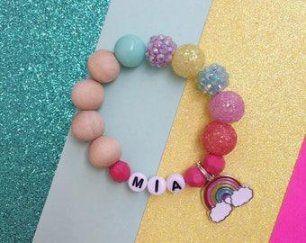 Rainbow Chunky Personalized Charm Bracelet