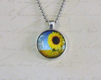 Sunflower fields silver pendant