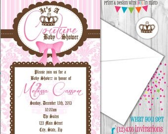 Couture baby invitation, Juicy invitation, couture baby shower