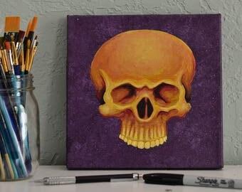 Orange Skull on Purple
