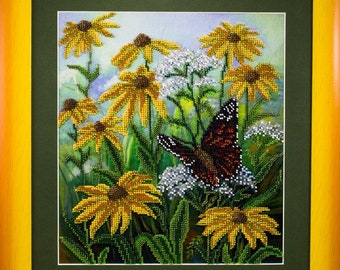 Beaded picture Field Flowers coneflowers butterfly yellow frame decor gift beadwork embroidery bead art elegant interior design decoration
