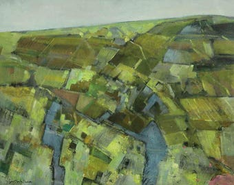 oil on canevas, aerial view, pastures of Normandy, large size.