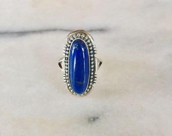 Vintage Navajo Running Bear Sterling Silver and Lapis Lazuli Ring Size 5