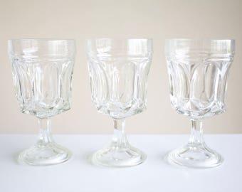 Vintage Clear Glass Goblets - Set of 3