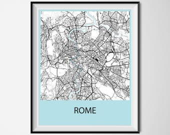 Rome Map Poster Print - Black and White