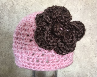 Pink Cap with Flower