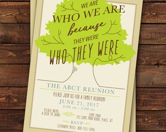 Family Reunion Invitation, Tree Family Reunion Invitation, Family Tree We Are Who We Are Because They Were Who They Were, Digital or Printed