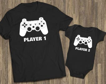Player 1 Player 2 Matching Sets | Dad Baby Matching Shirts | Father Son Set | Daddy Son Matching Tshirt | Daddy Baby Matching Shirts