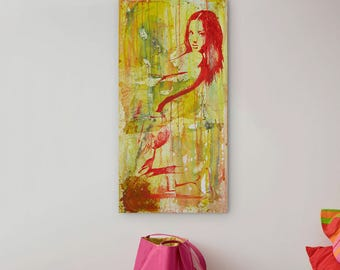 Girl Painting Colorful, Original Painting, Acrylic on Canvas, yellow