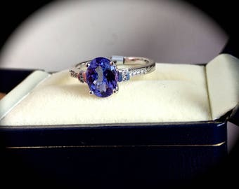 "Tanzanite & Diamond Ring 14ct White Gold ""Certified AA, 1.71 ct"" Exquisite Colour!"