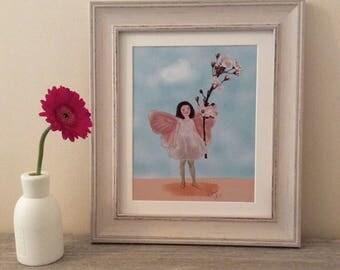 Printable Art - Cherry Blossom Fairy Illustration, Flower Fairy Print,Cicely M Barker Inspired, digital download,nursery art,printable art