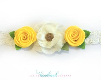 Yellow Flower Headband • Felt Flowers • hair accessories for girls • wedding headband • gifts • baby/child headband • adult headband