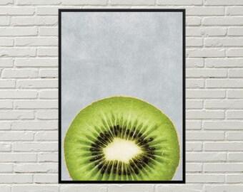 KIWI art print, kitchen food decor, kitchen art decor, food art, 11x14 kitchen fruit decor, kitchen wall decor, kitchen decor, food themed