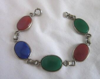 Vintage Sterling Silver with Semi Precious Hard stones Link Bracelet