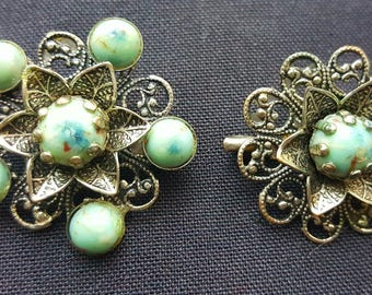 Antique filigree set of Brooches grenade blue cabs silvertone
