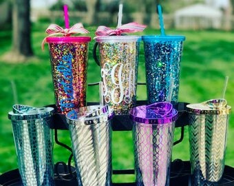 Glitter Tumbler, Personalized Tumbler, Monogrammed Tumbler, Confetti Tumbler, Metallic Tumbler, Graduation Gift, Bridesmaid Gift, Sorority,