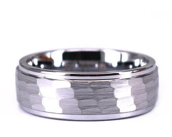 Tungsten Hammered Brushed Mens 8mm Wedding Band Tungsten Mans Ring Rings By Pristine