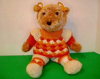 Teddy Bear Wearing Shades of Orange and Yellow Outfit