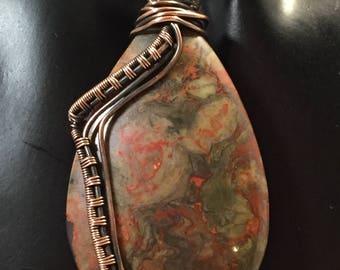 Jasper and Copper Wire Woven Pendant