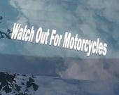 2 Watch Out For Motorcycles Decals Car Truck Fence Window Wall Door decal Sticker Art Gift Harley John Alex Michael Daniel Safety Garage