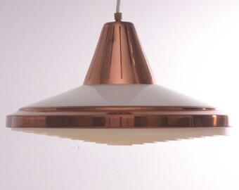 Vintage retro Danish copper plastic ceiling light lamp pendant 60 70 mid century