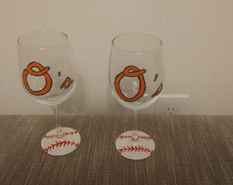 Hand painted baseball wine glasses