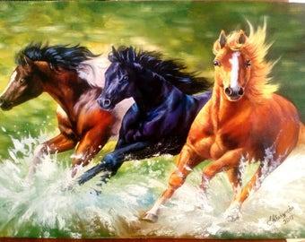 Oil painting horse Running gift Картина маслом кони бегущие подарок