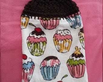 Cupcake Kitchen Towel with Crocheted top