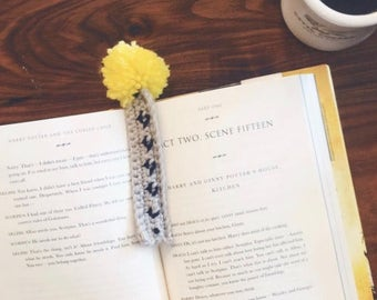 crochet pom pom bookmark