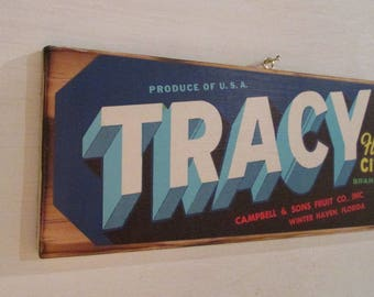 Original Tracy Brand Fruit Crate Label Mounted On Wood