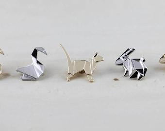 Swan-Rabbit-Dog Brooch Geometric-Origami Animal Brooch -Geometric Pin-Origami -Jewelty-Paper- Anniversary- Gift-Rhino Jewellery-Paper