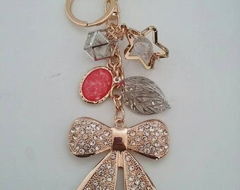 Simple rose gold bag keychain