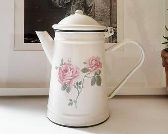 Coffee maker/teapot enamel vintage pattern pink. France 1970
