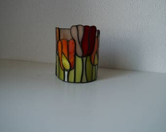Tiffany glass tea light holder